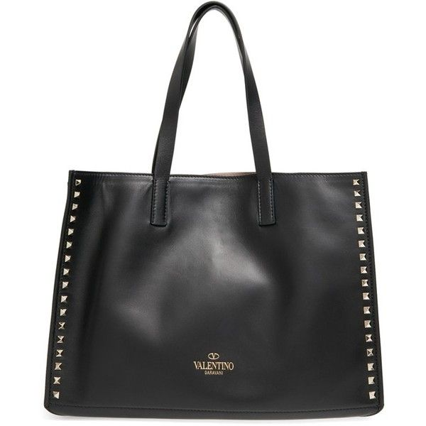 Valentino 'Rockstud - Soft' Leather Tote (€1.760) ❤ liked on Polyvore featuring bags, handbags, tote bags, valentino handbags, real leather handbags, genuine leather purse, genuine leather tote und real leather tote