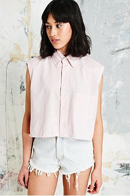 Vintage Renewal Crop Oxford Shirt in Pink