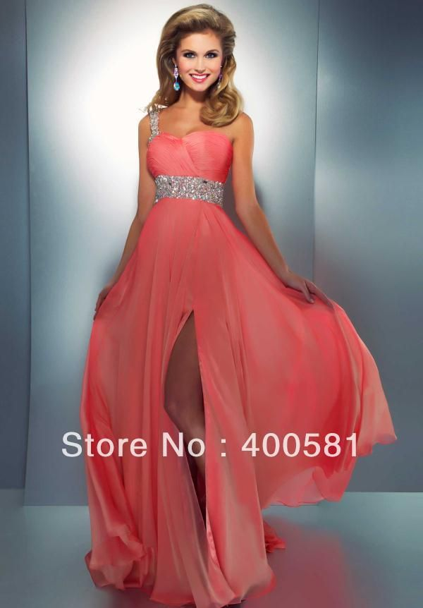 a5528c64de47 Lovely Sweetheart One-shoulder Empire Fitted Long Peacock Coral High Slit  Skirt Chiffon Beaded Kids Prom Dresses
