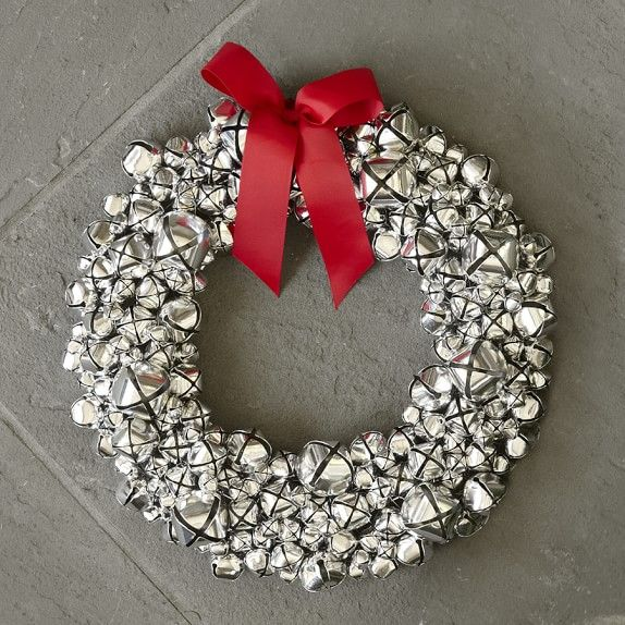 Silver Bell Wreath With Ribbon WilliamsSonoma White Christmas Extraordinary Silver Bells Decorations