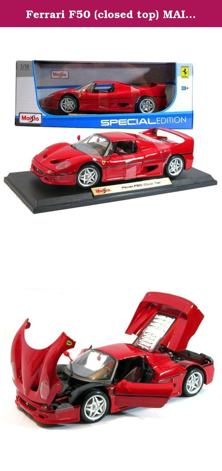 Ferrari F50 Closed Top Maisto Special Edition Diecast 1 18 Scale Red Ferrari F50 Closed Top Maisto Special Edition 1 18 Scale Rubber Tires Diecast Toy Car