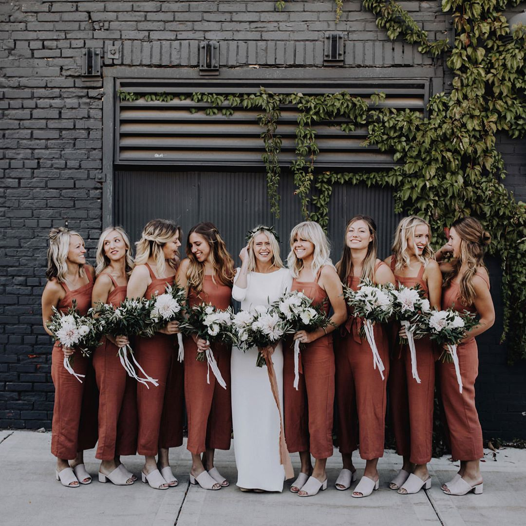 """Junebug Weddings on Instagram: """"We're suckers for nontraditional bridesmaid style, so it's no surprise these burnt orange jumpers from today's minimalist wedding ran away…"""""""