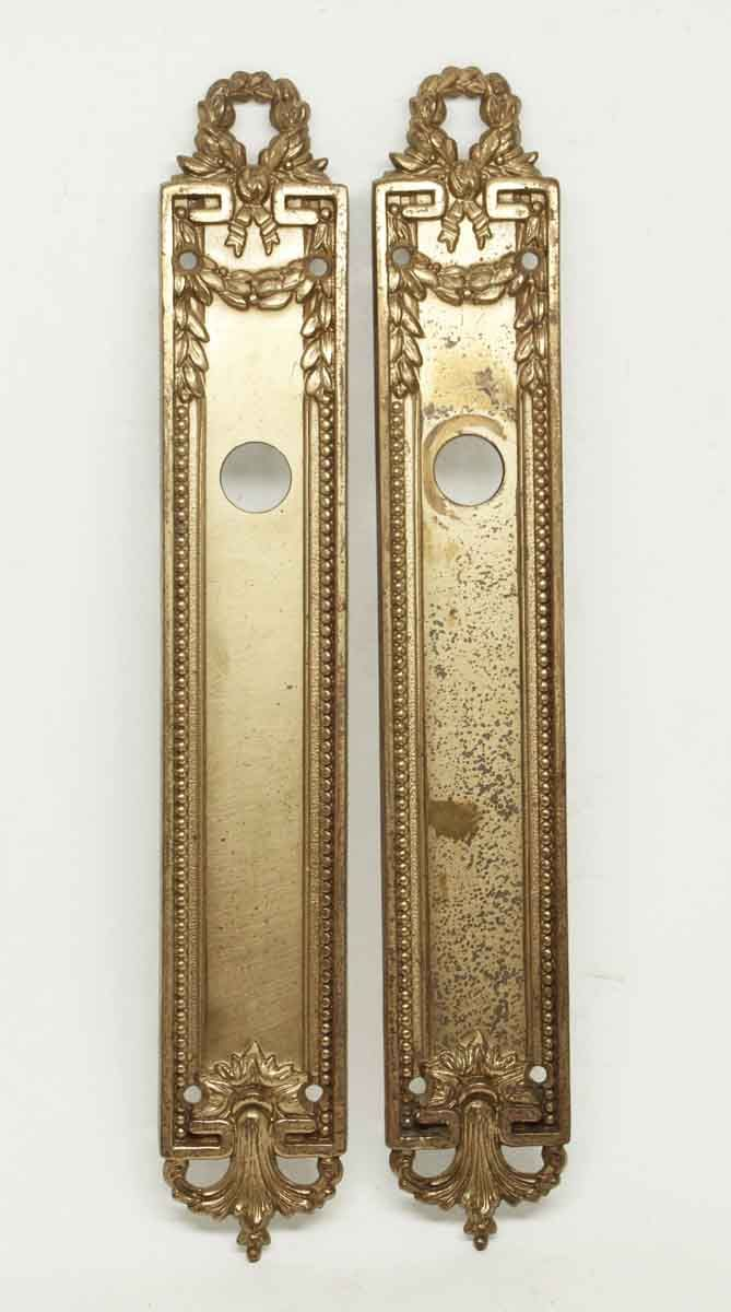Free shipping pair of gilt beaded brass plates antique