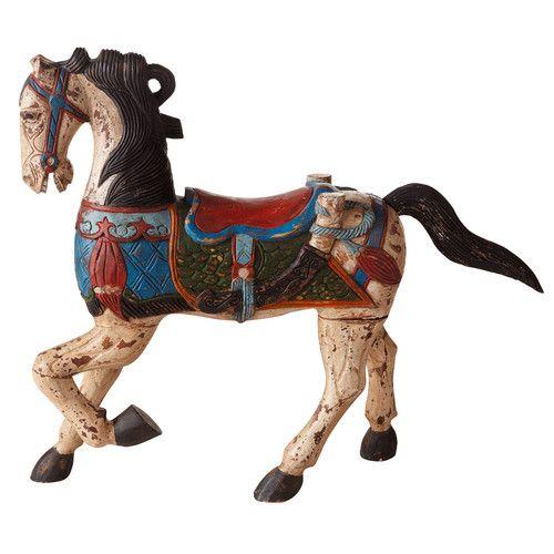 Statue Cheval de carrousel en bois 50cm décoration rétro vintage.