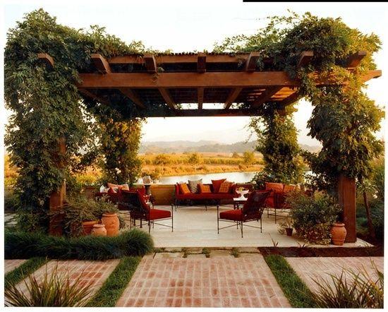 kletterpflanzen holz gartenlaube sichtschutz gartenmöbel - terrassen sichtschutz deko varianten