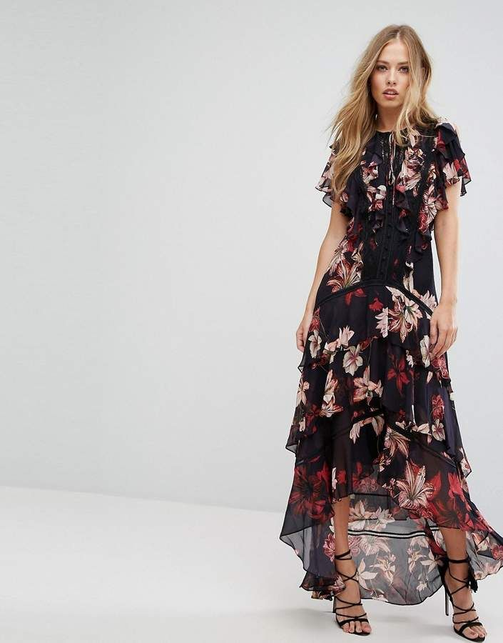 1d5ae22b3e1 Forever New Floral Printed Maxi Dress. Black floral dress with ruffle dip  hem and sleeves. Black and pink outfit