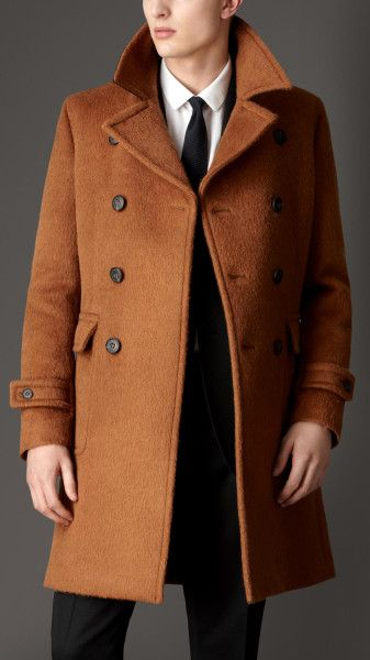 b8acde59a73 Men s Brown Doublebreasted Virgin Wool Alpaca Coat