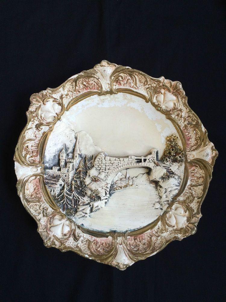 JS Keramik Majolika Steingut Teller Wandteller um 1900 Fluss mit burg