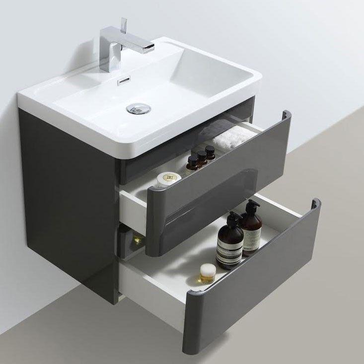 Vanity Unit Bathroom Grey zenit 600mm white gloss wall hung bathroom vanity unit inc basin
