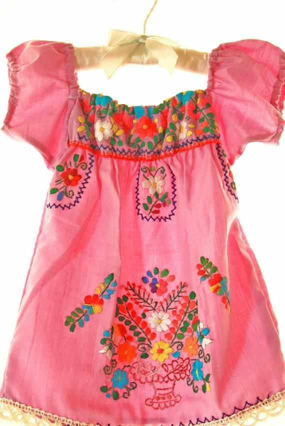 Pink mexican embroidered dress baby coronado off shoulder