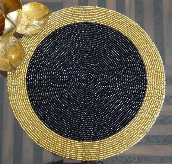 Handmade Beaded Black And Gold Table Mat Centre Piece Beaded Charger Placemat Decorative Mat Gift For Her Housewarming Present Elisi Fikirleri Boncuk Masa Aksesuarlari