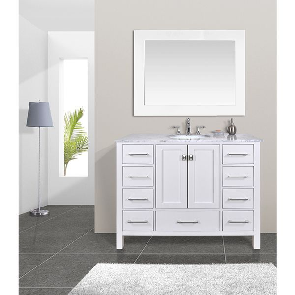 Website With Photo Gallery  inch Malibu Pure White Single Sink Bathroom Vanity Cabinet With inch Mirror