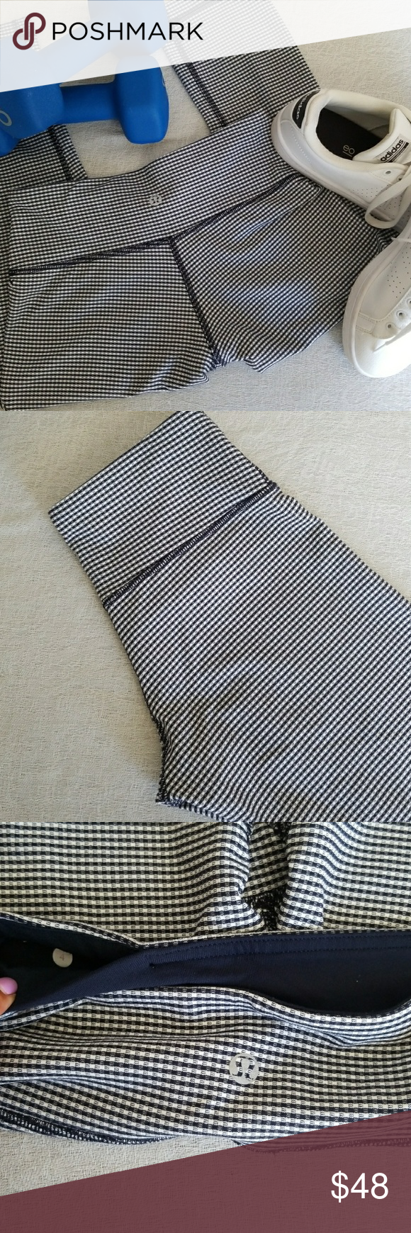 c809fe668 Lululemon Crops 4 EUC No flaws Navy houndstooth Size 4 (XS) 18.5 inseam  Matching top available in other listing lululemon athletica Pants Leggings
