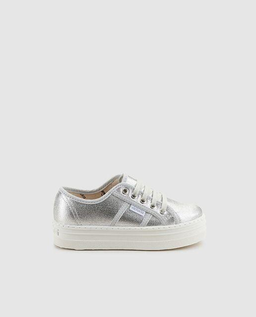 Zapatillas de lona de niña Victoria de color plata con efecto metalizado