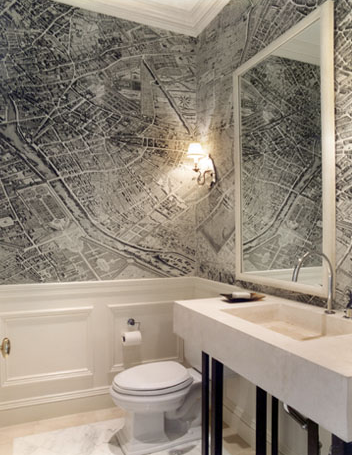 Gauthier stacy bathrooms vintage map wallpaper chair rail gauthier stacy bathrooms vintage map wallpaper chair rail wainscoting concrete sink vintage world map wallpaper vintage map wallpaper gumiabroncs Gallery