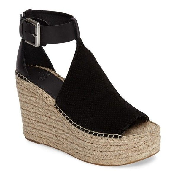 Women s Marc Fisher Ltd Annie Perforated Espadrille Platform Wedge ( 170) ❤  liked on Polyvore featuring shoes 2b9c0ba8f69