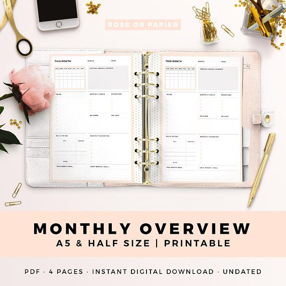 a5 half size printable personal planner inserts monthly overview