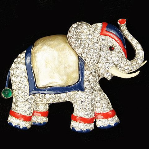 Trifari 'Alfred Philippe' Pearl Belly Elephant Pin Clip