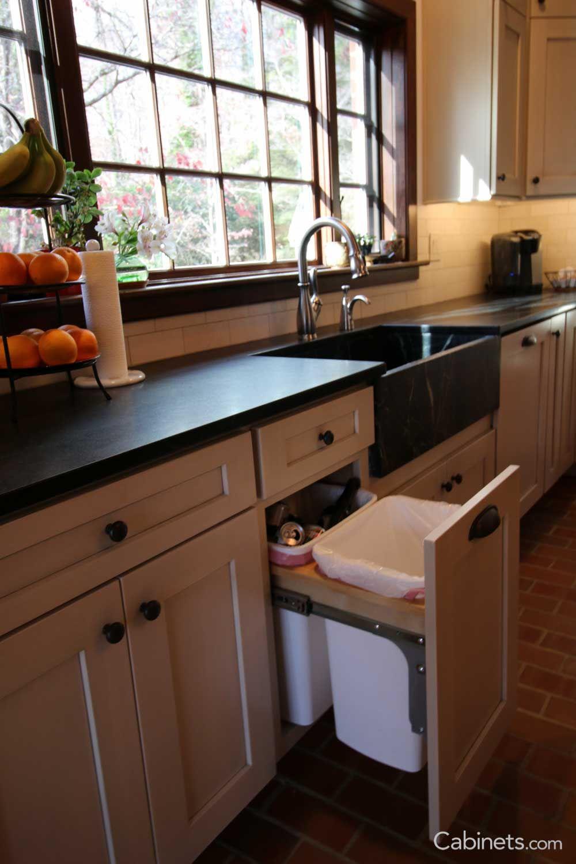 Kitchen window ledge  shaker ii maple antique white brushed gray glaze  farmhouse kitchen