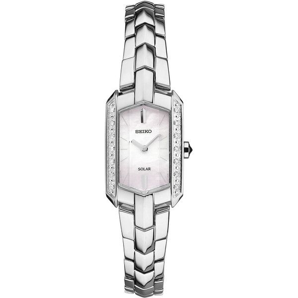 Ladies' Seiko Tressia Diamond Watch (€285) ❤ liked on Polyvore featuring jewelry, watches, diamond jewellery, diamond watches, rectangle watches, seiko wrist watch and water resistant watches