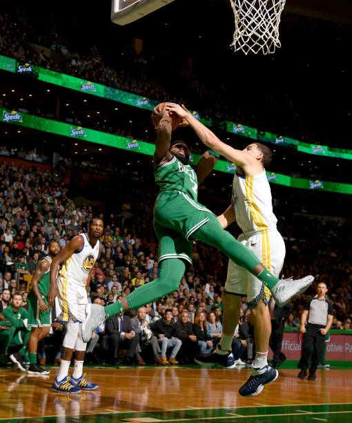 Jaylen Brown of the Boston Celtics goes to the basket against the ...