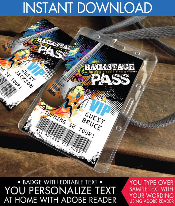 Rockstar Party Backstage Passes VIP Badges Party like a | Gift