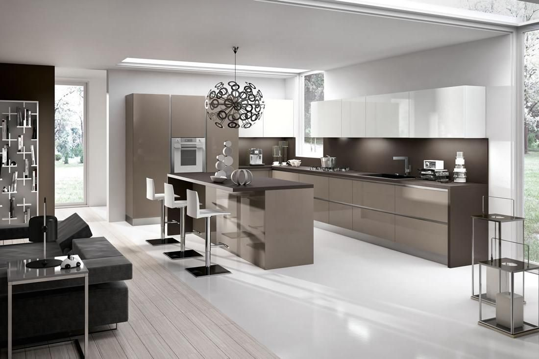 contemporary kitchen set in modern design with dining table set as