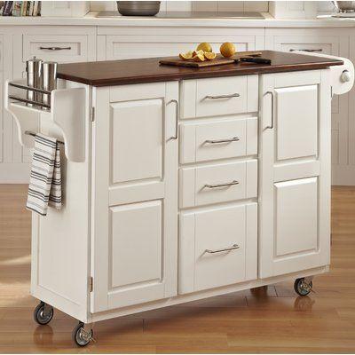 Millwood Pines Legler A Cart Kitchen Island With Solid Wood Top In 2020 Kitchen Cart Kitchen Design Small Interior Design Kitchen