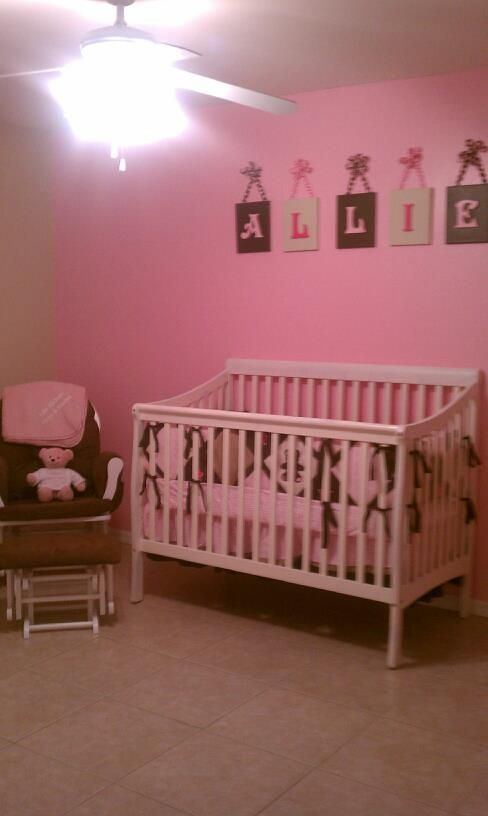 Little S Nursery Name Above Crib Only Cost About 30 Paint White Wooden Canvases