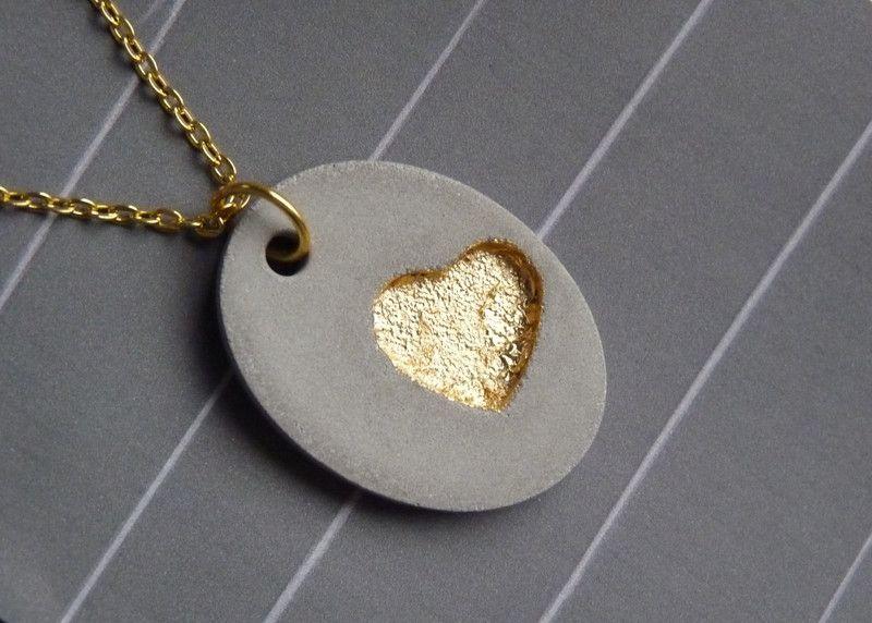 Beton Kette *Goldiges Herz* mit Blattmetall von Structallic – Schmuck mit *Akzen…