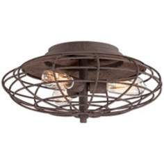 "Industrial Cage Dark Rust 7 1/2"" High Ceiling Light Fixture"
