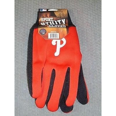 MLB NWT 2-TONE NO SLIP UTILITY WORK GLOVES- PHILADELPHIA PHILLIES
