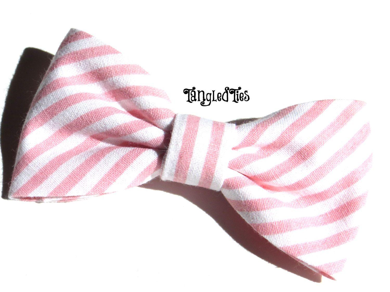 The Ten Dollar Bow Peachy Pink Stripe by TangledTiesBowTies