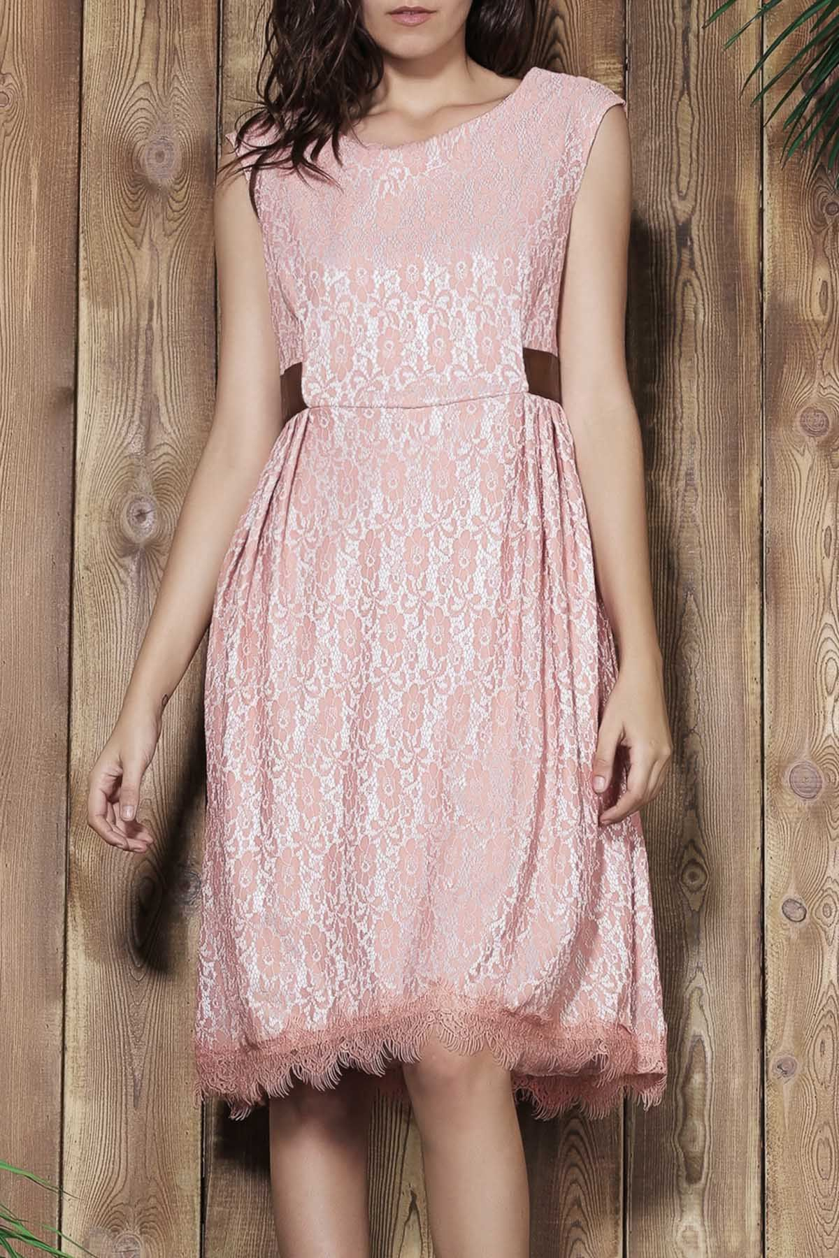 Vintage style scoop neck sleeveless lace pink ball gown dress for