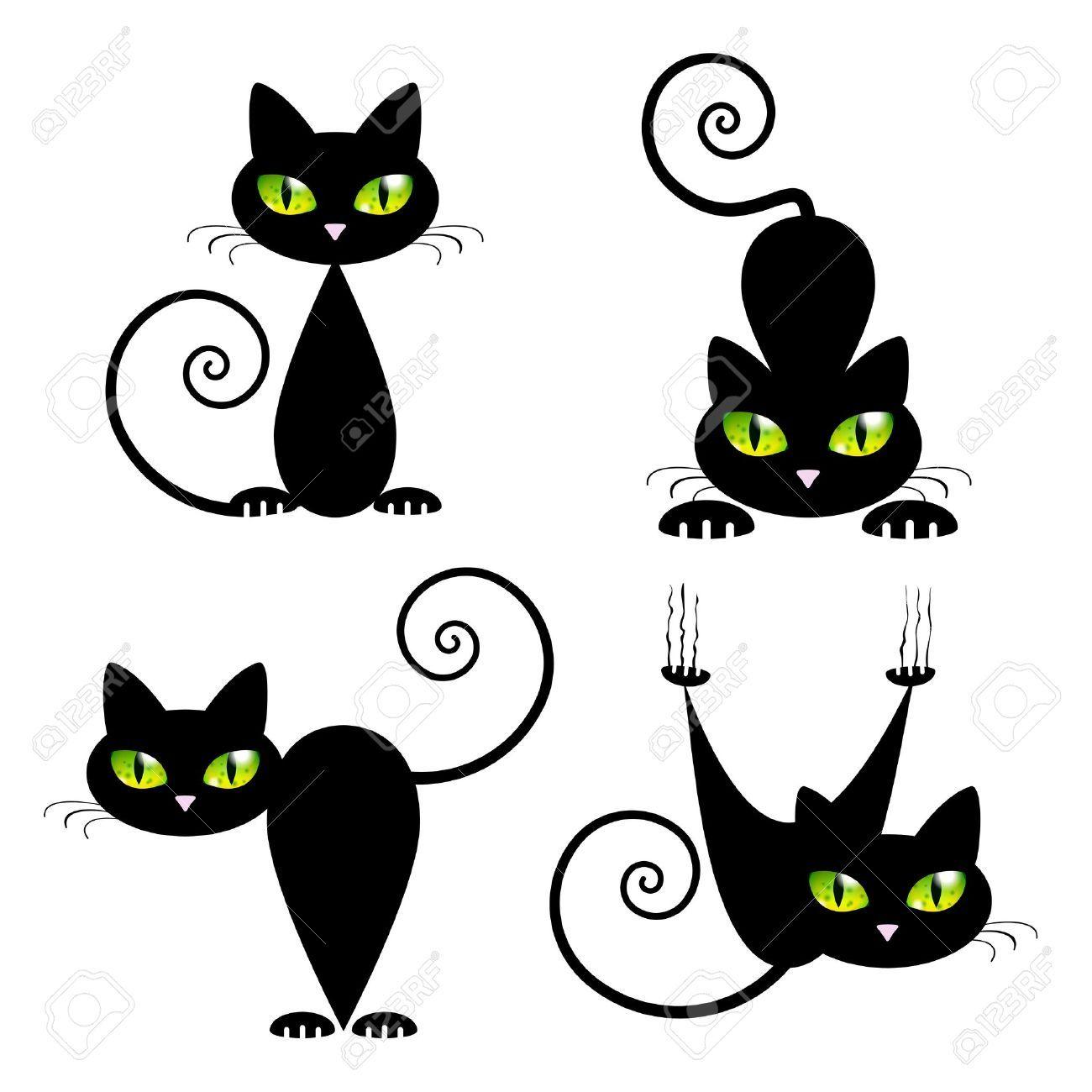 Illustration De Vecteur De Chat Noir Avec Des Yeux Verts