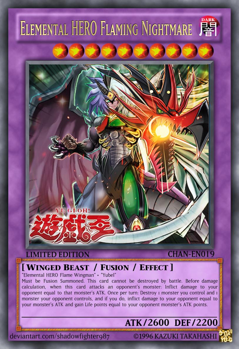 Elemental Hero Flaming Nightmare Custom Yugioh Cards Yugioh Monsters Card Maker