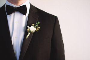 Elegant Gold and Green Boutonniere. Bushel & Peck [floral artistry]