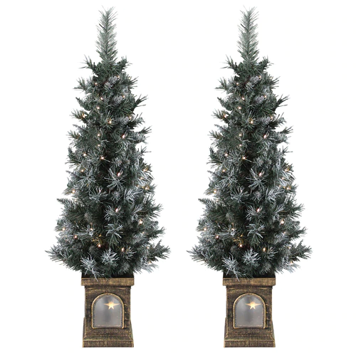 Set Of 2 Pre Lit 4ft Christmas Trees Frosted Garden Pathway Outdoor Trees Pathways Outdoor Gardens