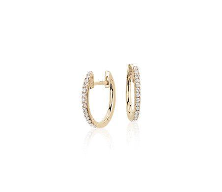 Blue Nile Petite Square Drop Earrings in 14k Yellow Gold KcTCU