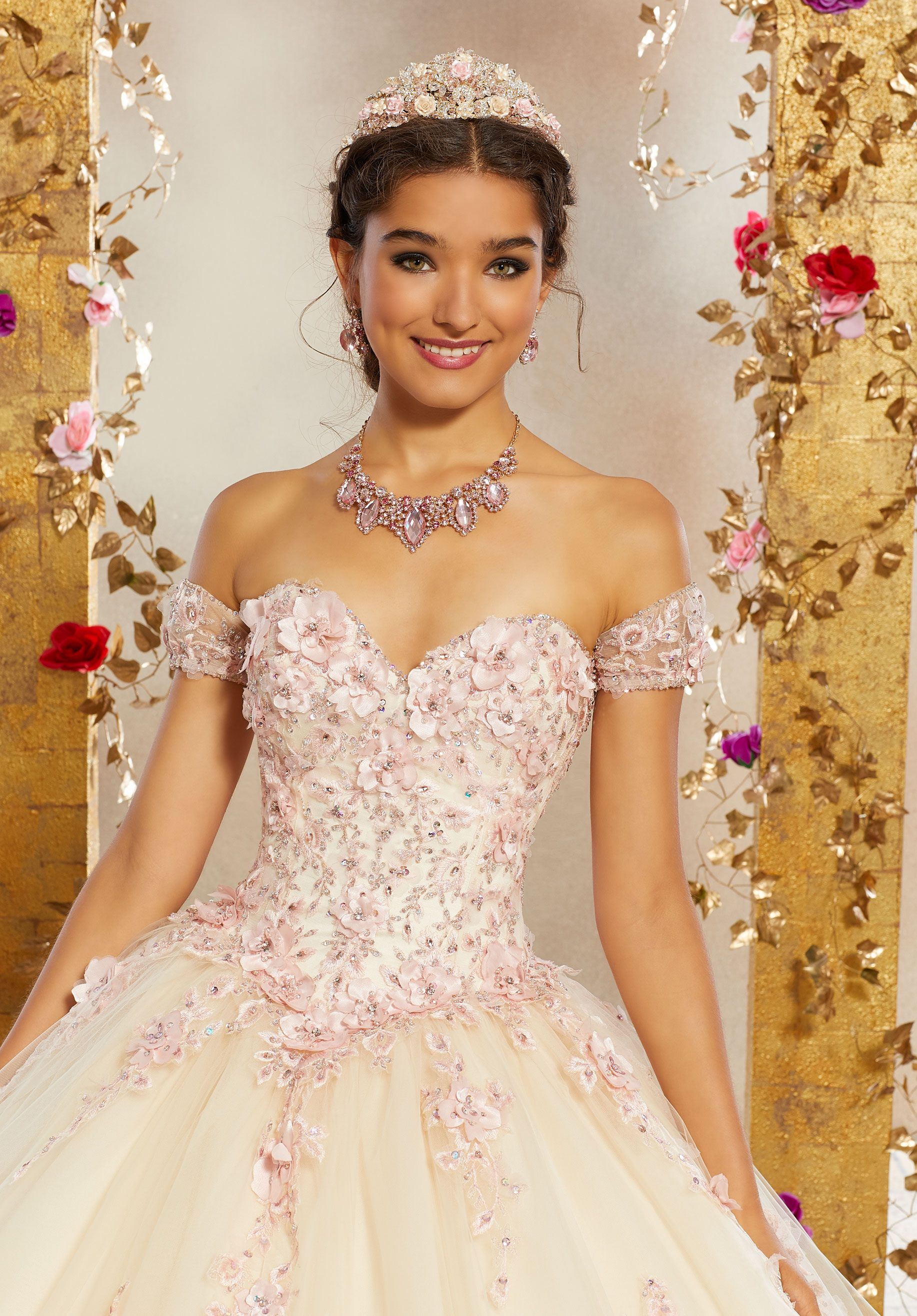 311b8378ab7 Beautiful Quinceañera Ballgown featuring a Sweetheart Neckline Bodice  Accented in Three-Dimensional Floral Appliqués and Embroidery.