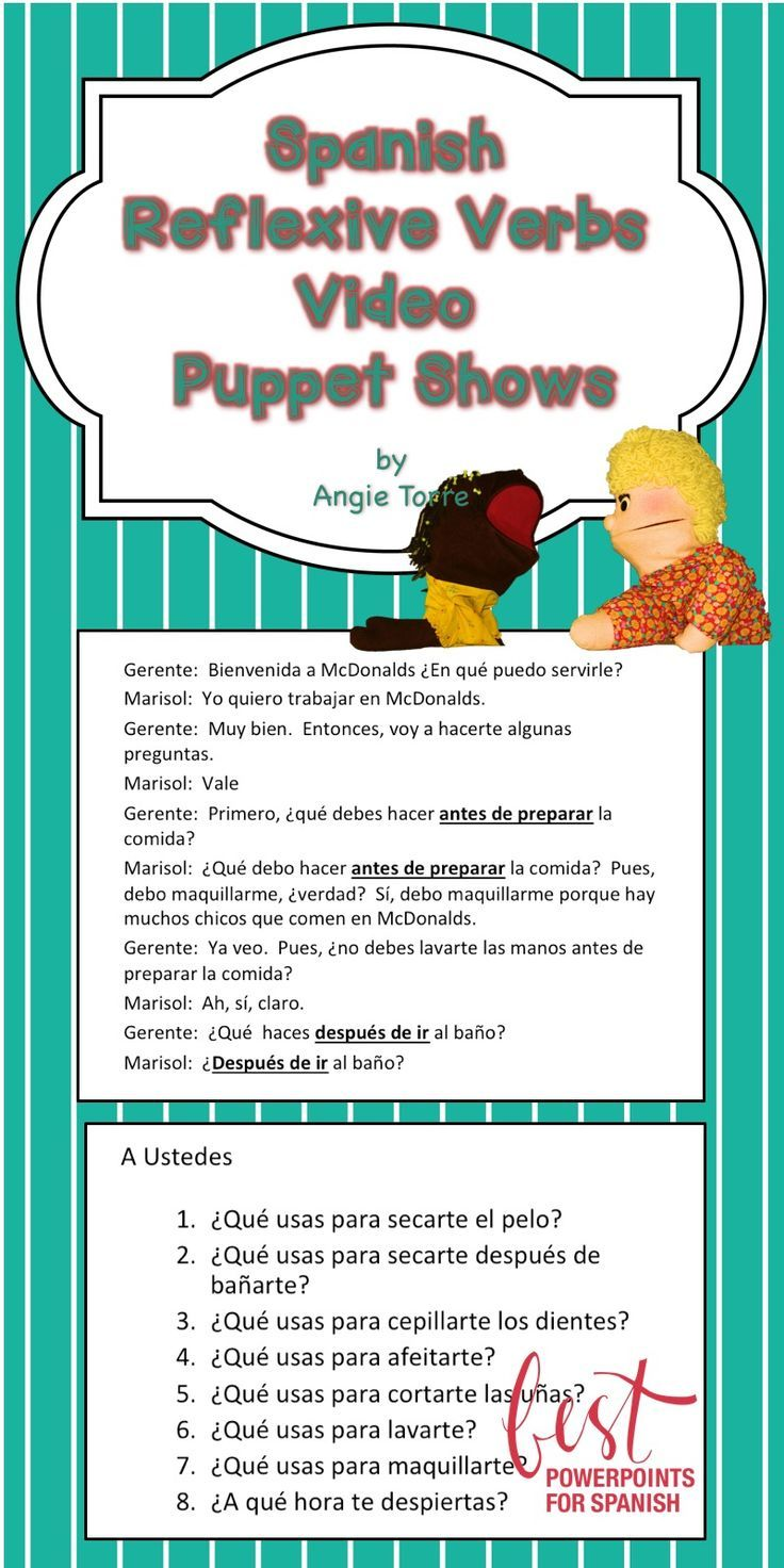 Spanish Reflexive Verbs Video Puppet Shows Spanish Reflexive Verbs Spanish Curriculum Teaching Spanish [ 1472 x 736 Pixel ]