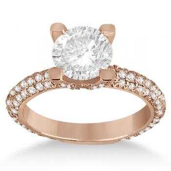 Eternity Pave Set Trio Diamond Engagement Ring 14K Rose Gold (0.88ct)