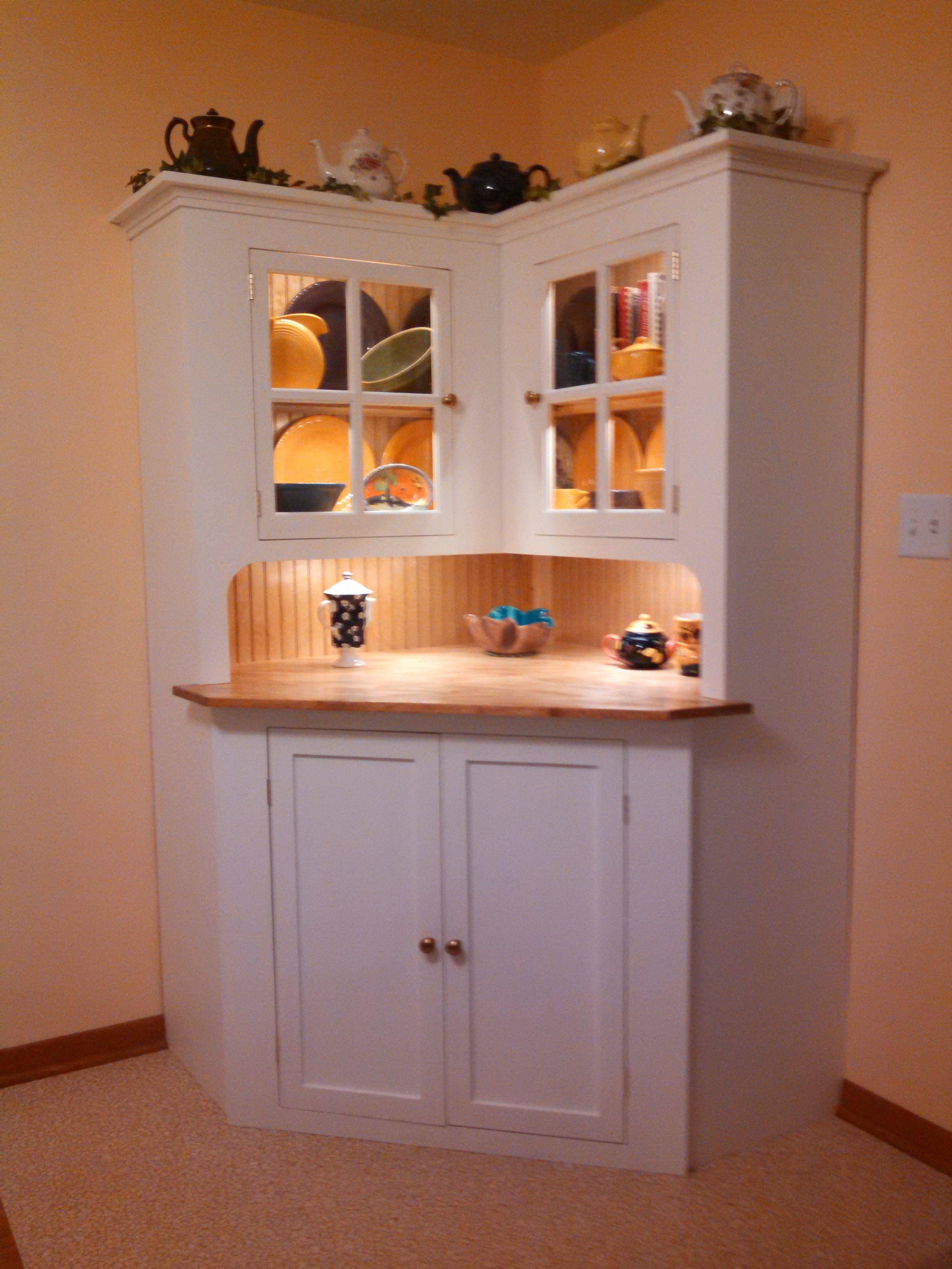 wood rustic oak corner with hutch ashley cabinets doors furniture dining ikea antique buffet table storage tall tiger room