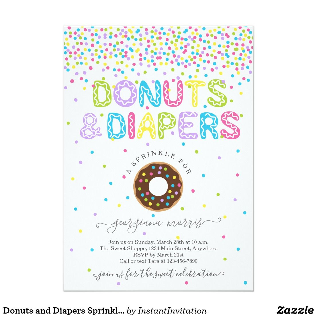 Donuts And Diapers Sprinkle Baby Shower Invitation