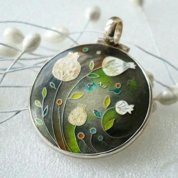 'Time of Perfection' silver enamel pendant by Olga Lutsenko