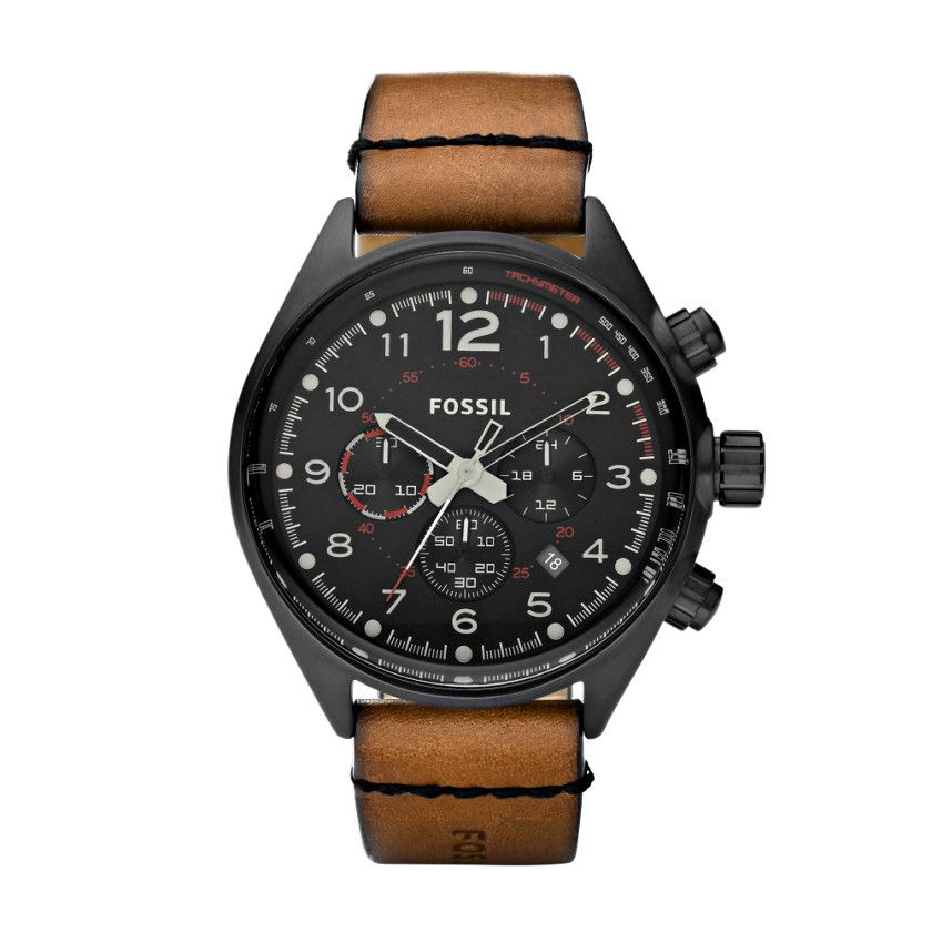 Fossil Flight Leather Watch Brown Fossil watches for