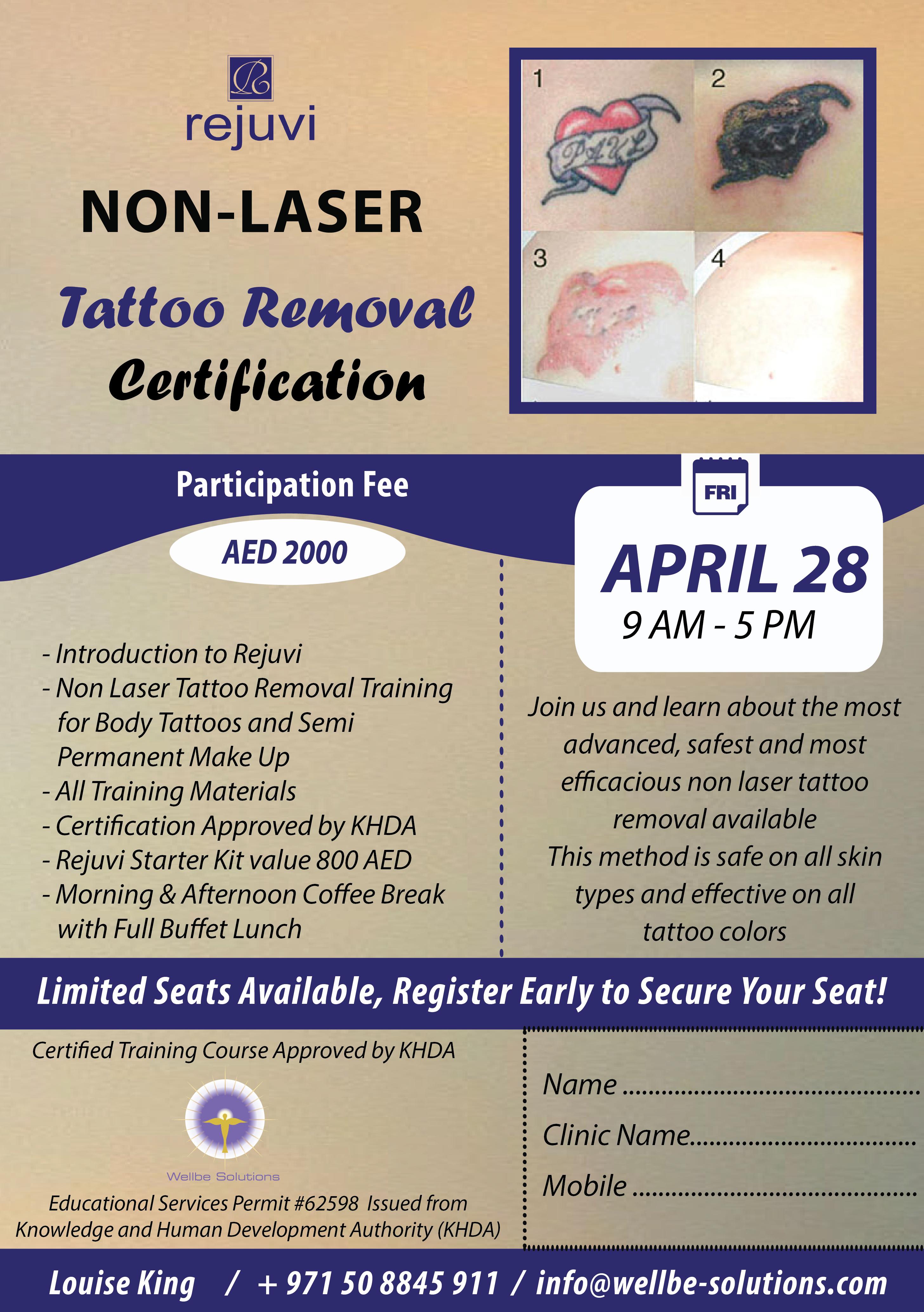 Tattoo Removal Non Laser Rejuvi Certified Training Course