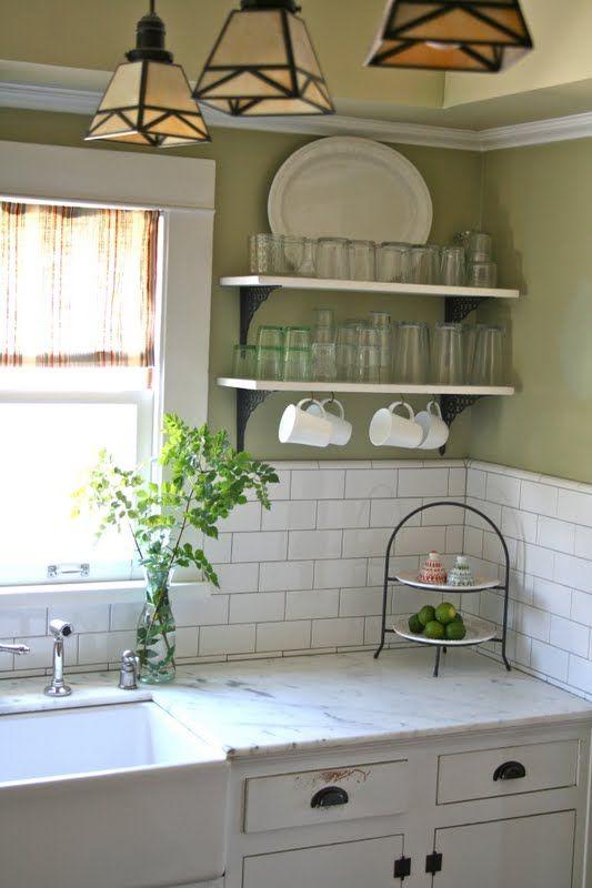 Green & white kitchen