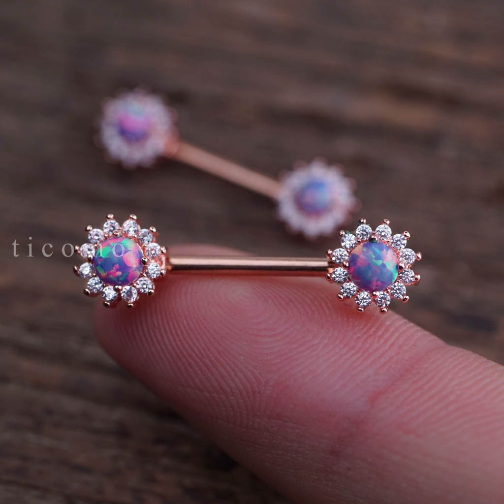 Nipple ring Nipple piercing Nipple jewelry Nipple Barbell Fire Opal
