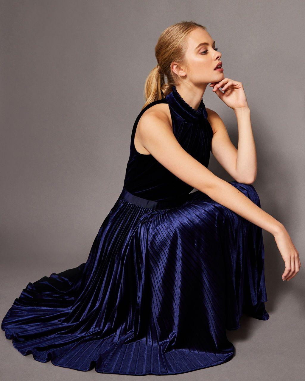 56044d2e9e24 Ted Baker Pleated velvet midi dress - Dark Blue